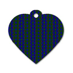 Split Diamond Blue Green Woven Fabric Dog Tag Heart (two Sides) by AnjaniArt