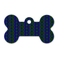 Split Diamond Blue Green Woven Fabric Dog Tag Bone (one Side)