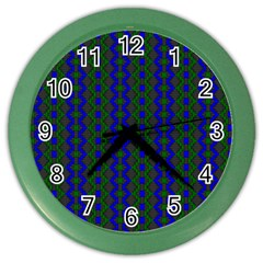 Split Diamond Blue Green Woven Fabric Color Wall Clocks by AnjaniArt