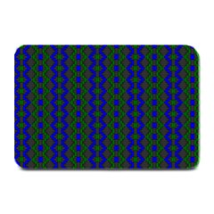 Split Diamond Blue Green Woven Fabric Plate Mats by AnjaniArt
