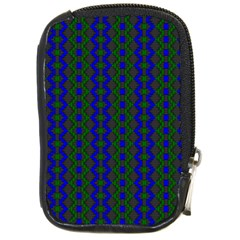 Split Diamond Blue Green Woven Fabric Compact Camera Cases by AnjaniArt