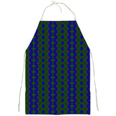 Split Diamond Blue Green Woven Fabric Full Print Aprons by AnjaniArt