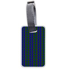 Split Diamond Blue Green Woven Fabric Luggage Tags (two Sides) by AnjaniArt