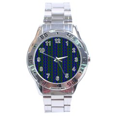 Split Diamond Blue Green Woven Fabric Stainless Steel Analogue Watch by AnjaniArt