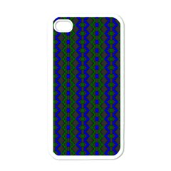 Split Diamond Blue Green Woven Fabric Apple Iphone 4 Case (white) by AnjaniArt