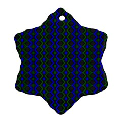 Split Diamond Blue Green Woven Fabric Snowflake Ornament (two Sides) by AnjaniArt