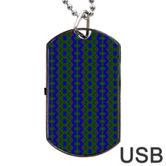 Split Diamond Blue Green Woven Fabric Dog Tag Usb Flash (one Side) by AnjaniArt