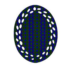 Split Diamond Blue Green Woven Fabric Oval Filigree Ornament (two Sides)