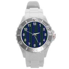 Split Diamond Blue Green Woven Fabric Round Plastic Sport Watch (l) by AnjaniArt