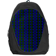 Split Diamond Blue Green Woven Fabric Backpack Bag by AnjaniArt