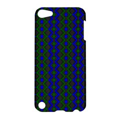 Split Diamond Blue Green Woven Fabric Apple Ipod Touch 5 Hardshell Case by AnjaniArt
