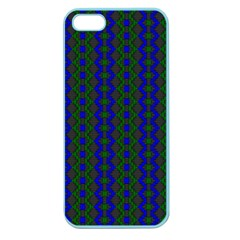 Split Diamond Blue Green Woven Fabric Apple Seamless Iphone 5 Case (color) by AnjaniArt