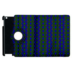 Split Diamond Blue Green Woven Fabric Apple Ipad 2 Flip 360 Case by AnjaniArt