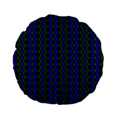Split Diamond Blue Green Woven Fabric Standard 15  Premium Round Cushions by AnjaniArt