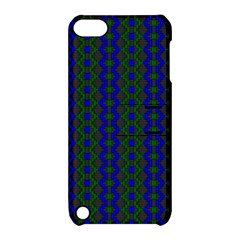 Split Diamond Blue Green Woven Fabric Apple Ipod Touch 5 Hardshell Case With Stand by AnjaniArt