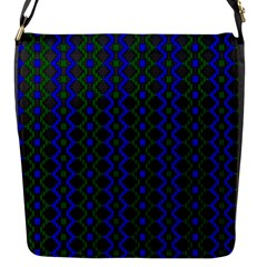 Split Diamond Blue Green Woven Fabric Flap Messenger Bag (s)