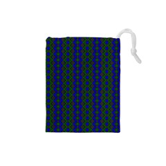Split Diamond Blue Green Woven Fabric Drawstring Pouches (small)  by AnjaniArt