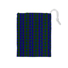 Split Diamond Blue Green Woven Fabric Drawstring Pouches (medium)  by AnjaniArt