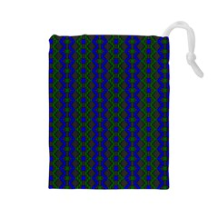 Split Diamond Blue Green Woven Fabric Drawstring Pouches (large)  by AnjaniArt