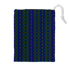 Split Diamond Blue Green Woven Fabric Drawstring Pouches (extra Large) by AnjaniArt
