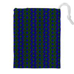 Split Diamond Blue Green Woven Fabric Drawstring Pouches (xxl) by AnjaniArt