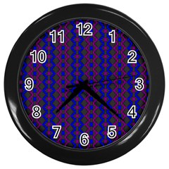 Split Diamond Blue Purple Woven Fabric Wall Clocks (black) by AnjaniArt