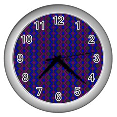 Split Diamond Blue Purple Woven Fabric Wall Clocks (silver)  by AnjaniArt