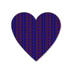 Split Diamond Blue Purple Woven Fabric Heart Magnet by AnjaniArt