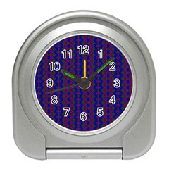 Split Diamond Blue Purple Woven Fabric Travel Alarm Clocks by AnjaniArt