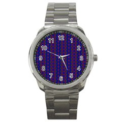 Split Diamond Blue Purple Woven Fabric Sport Metal Watch by AnjaniArt