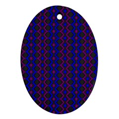 Split Diamond Blue Purple Woven Fabric Oval Ornament (two Sides) by AnjaniArt