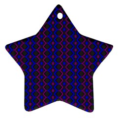 Split Diamond Blue Purple Woven Fabric Star Ornament (two Sides) by AnjaniArt