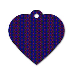 Split Diamond Blue Purple Woven Fabric Dog Tag Heart (two Sides) by AnjaniArt