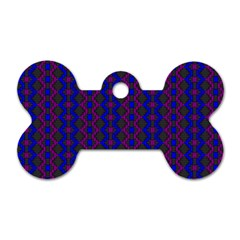 Split Diamond Blue Purple Woven Fabric Dog Tag Bone (two Sides) by AnjaniArt