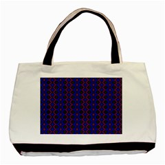 Split Diamond Blue Purple Woven Fabric Basic Tote Bag (two Sides) by AnjaniArt