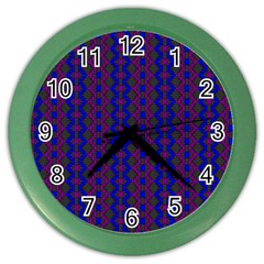 Split Diamond Blue Purple Woven Fabric Color Wall Clocks by AnjaniArt
