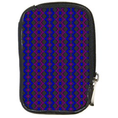 Split Diamond Blue Purple Woven Fabric Compact Camera Cases by AnjaniArt