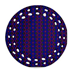 Split Diamond Blue Purple Woven Fabric Round Filigree Ornament (two Sides) by AnjaniArt