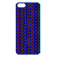 Split Diamond Blue Purple Woven Fabric Apple Seamless Iphone 5 Case (color) by AnjaniArt