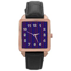 Split Diamond Blue Purple Woven Fabric Rose Gold Leather Watch  by AnjaniArt