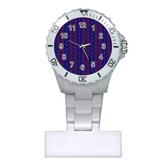 Split Diamond Blue Purple Woven Fabric Plastic Nurses Watch by AnjaniArt