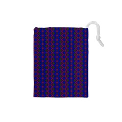 Split Diamond Blue Purple Woven Fabric Drawstring Pouches (small)  by AnjaniArt
