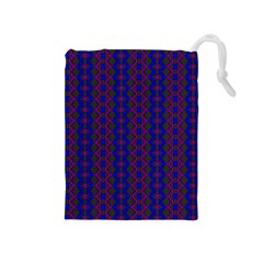 Split Diamond Blue Purple Woven Fabric Drawstring Pouches (medium)  by AnjaniArt