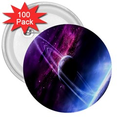 Space Pelanet Saturn Galaxy 3  Buttons (100 Pack)