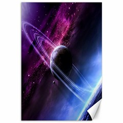 Space Pelanet Saturn Galaxy Canvas 12  X 18   by AnjaniArt
