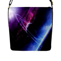 Space Pelanet Saturn Galaxy Flap Messenger Bag (l)  by AnjaniArt