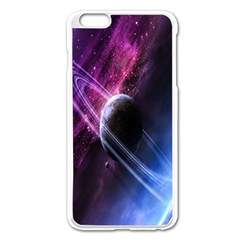 Space Pelanet Saturn Galaxy Apple Iphone 6 Plus/6s Plus Enamel White Case by AnjaniArt