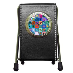 Space Month Saturnus Planet Star Hole Multicolor Pen Holder Desk Clocks