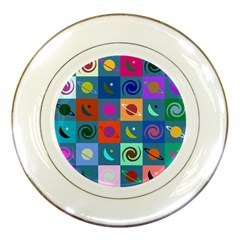 Space Month Saturnus Planet Star Hole Multicolor Porcelain Plates by AnjaniArt