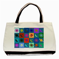 Space Month Saturnus Planet Star Hole Multicolor Basic Tote Bag (two Sides) by AnjaniArt